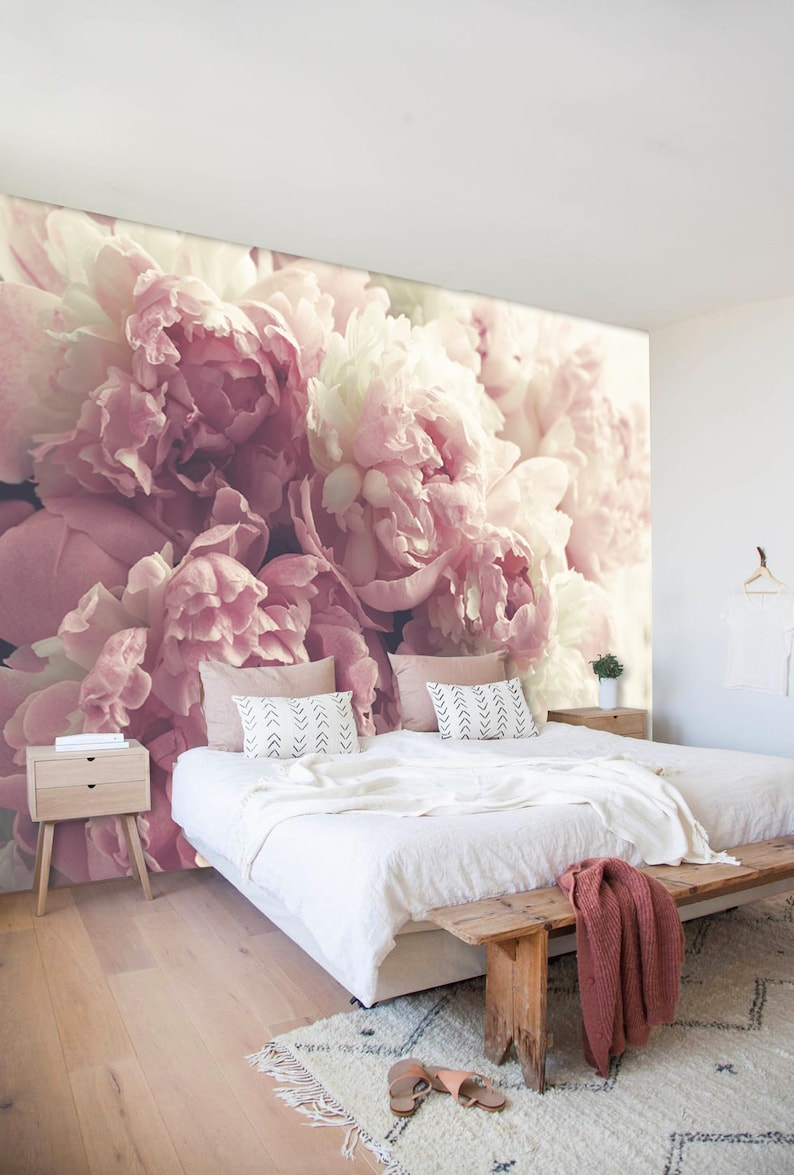 Peony Floral Wall Mural In Pale Pink And Off White Peony Roses Vintage Flowers Wallpaper Floral Decor Dusty Pink Nursery Decor
