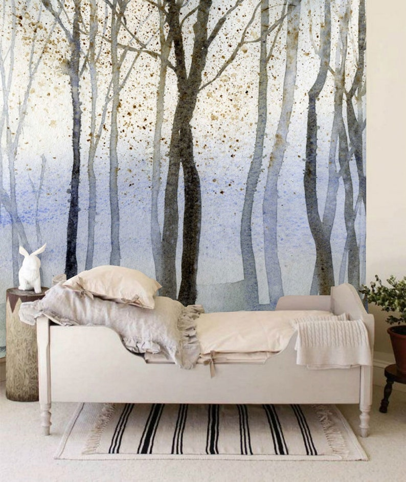 Into The Woodlands Wall Mural The Enchanted Forest Wallpaper Watercolor Magical Forest Wall Décor Nursery And Room Décor Wall Art