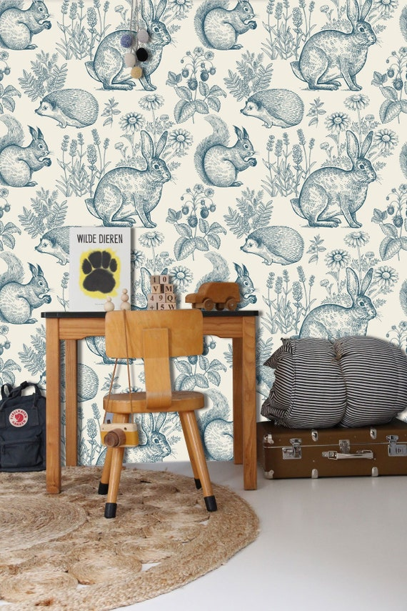 Fantasy Forest In Teal Wall Mural Forest Animals Wallpaper Hedgehog Squirrel And Rabbit Wall Décor Nursery And Room Décor Wall Art