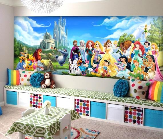 Disney Characters Wall Mural Disney Princess Wallpaper Peter Pan Wallpaper Mickey Mouse Wallpaper Frozen Wallpaper Nursery Decor