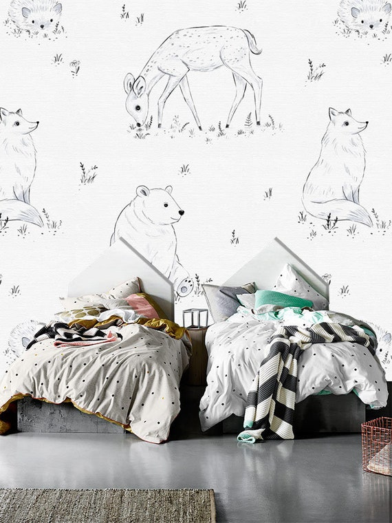 Forest Animals In Monochrome Wall Mural Bear Fox And Deer Etsy