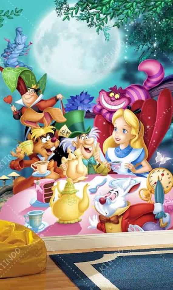 Alice in Wonderland 3 Wall mural Wallpaper Wall dcor Wall Etsy
