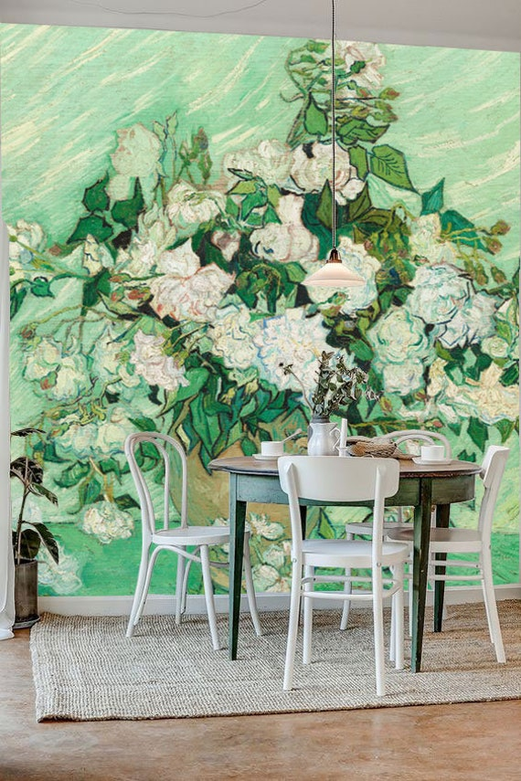 Roses Wall Mural Art Wallpaper Vincent Van Gogh Wallpaper Vintage Floral Wallpaper Nursery And Room Décor Van Gogh Wallpaper