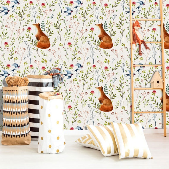Into The Woodlands Wall Mural Forest Animals Wallpaper Fox Birds And Forest Flowers Wall Décor Nursery And Room Décor