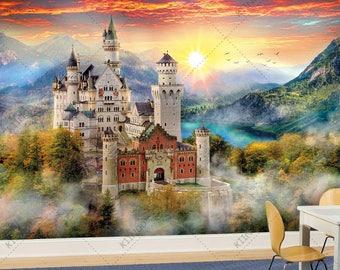 Fairy tale Castle #2, Fairytale Wallpaper, Wall décor, Wall decal, Nursery and room décor, Wall art