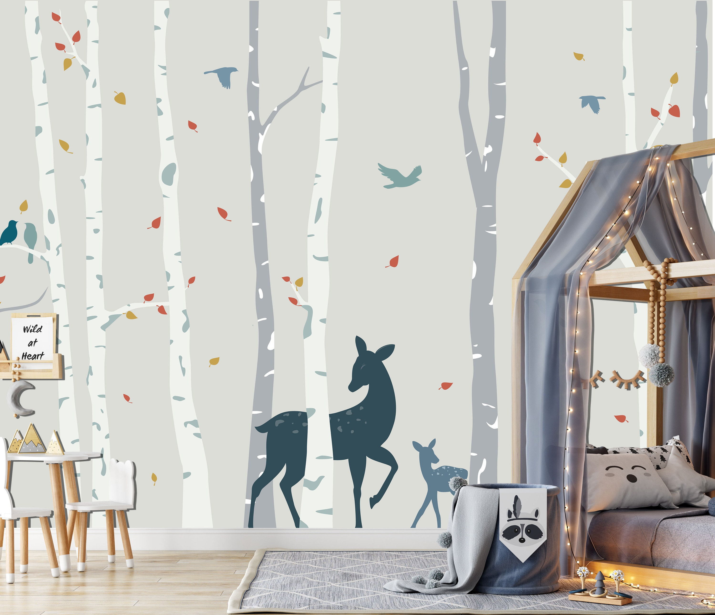 Birch Forest In Soft Colors Wall Mural Kids Woodland Scene Etsy