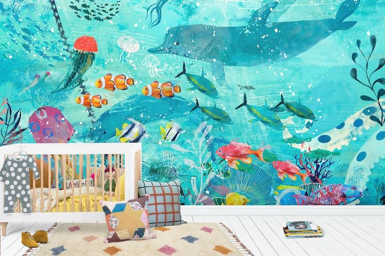 Dolphins Wallpaper Nursery And Room D U00e9cor Deep Sea Bottom Wall Mural Watercolor Sea Bottom Wallpaper
