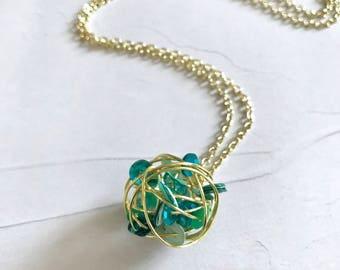 Turquoise Sequins Gold Wire Wrapped Necklace