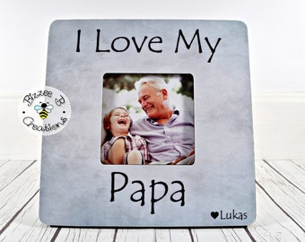 Personalized Papa Picture Frame I Love My Grandpa Gift For Birthday Dad Grandfather Grandson