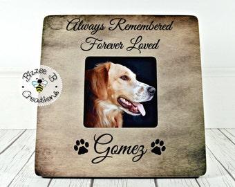 Custom Pet Memorial Picture Frame, Always Remembered Forever Loved, Pet Memory Frame, Pet Memorial Gift, In Memory Dog Frame
