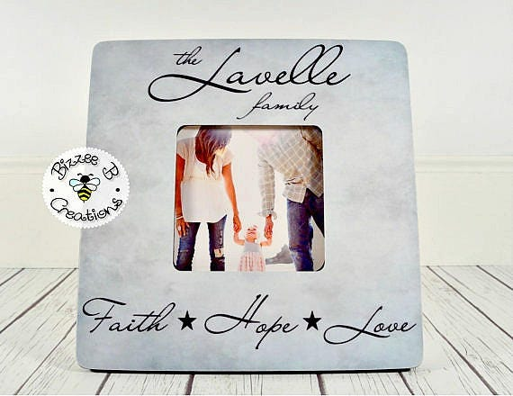 ON SALE Last Name Picture Frame Faith Hope Love Family Photo | Etsy