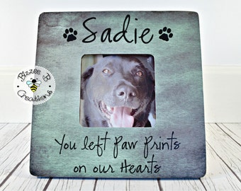 ON SALE Personalized Pet Picture Frame, You left Paw Prints on our Hearts, Pet Memory Frame, Pet Memorial Gift, Dog Lover, In Memory Of Fram