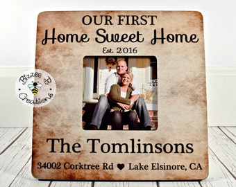 ON SALE First Home Picture Frame Gift, Our First Home Sweet Home, Housewarming Gift, Personalized Family Sign, Gift for Family, Christmas Gi