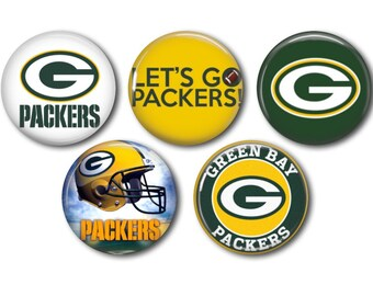 """ONE Inch Buttons 1/"""" Pinback Pins Football Go Packs! 12 GREEN BAY PACKERS"""