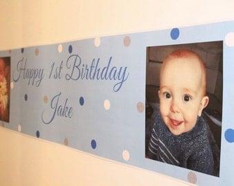 Birthday Banner, Personalised Birthday Banner, Party Banner, Polka dots, party, 1st birthday banner, christening banner, Happy Birthday