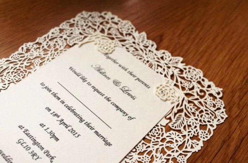 Wedding Invitations Laser Cut Rose Personalised Wedding Etsy
