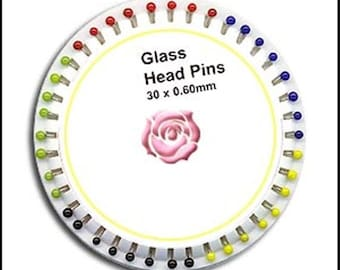 10 Rosettes! Glass Head Sewing Pins!