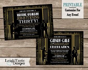 SALE Printable ROARING 20's INVITATION, Gatsby Invitation, Speakeasy, Prohibition Party Birthday Wedding Shower Rehearsal Dinner Retirement