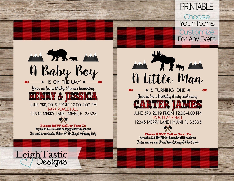 PRINTABLE Lumberjack Party Invitation Plaid Invitation | Etsy