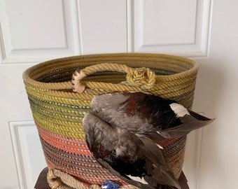 Rope Basket, Bowl, Platter and Vase w/Duck or Pheasant