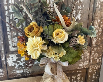 Wedding Antler/Floral Bridal Bouquet