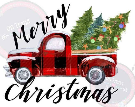 Merry Christmas Farm Truck Sublimation Print Etsy