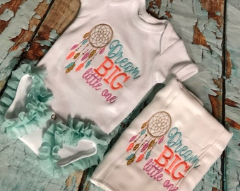 Bringing home Baby Girl, Dream Big little one onesie set, Dream Catcher onesie set,  onesie and burp cloth set