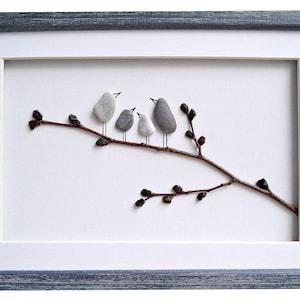 new home home decor Birds family housewarming gift Pebble art birds Anniversary gift birds nest