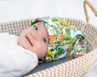 Animal Lover Outfit Cat Print Baby Knotted Hat Scandi Inspired Print First Photo Accessory Cotton Unisex Baby Clothing Baby Shower Gift