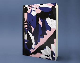 Botanical sketch - book of travel memories - writing - for - graphic floral pattern