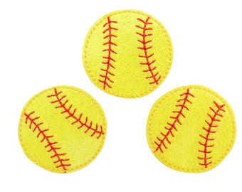 Ball Game Sport Clips and Crafts Reels Yellow Felt- Great for Hair Bows Softball Feltie