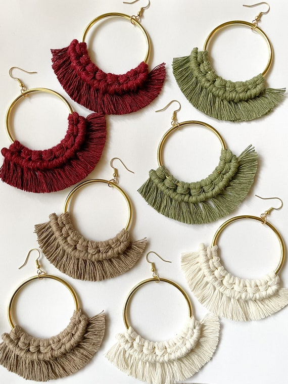 Boho Earrings Macrame The Lily Collection