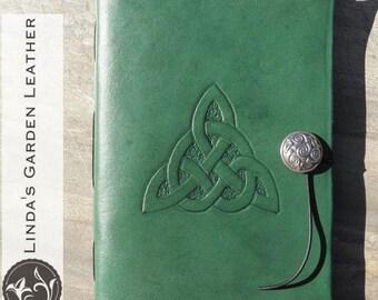 Handmade Leather Celtic Trinity Knot Journal or Sketchbook