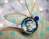 Floral Spock Handmade Recycled Bottle Cap Resin Necklace, Star Trek