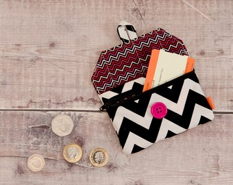 Fabric coin purse - zip purse - button purse - card holder - change purse - idle sew-and-sew