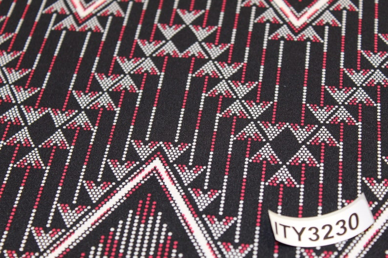 and White large Geometric print NEW ITY knit-Black Red
