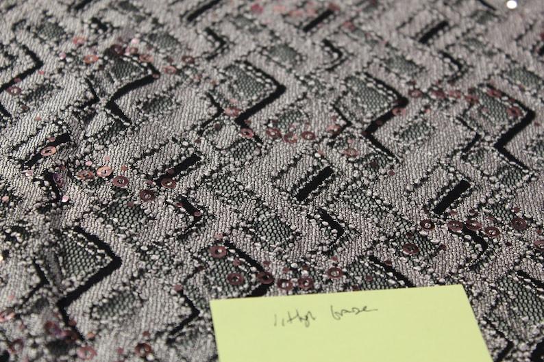 Black Stretch Mesh Light Grape metallic Sequins Print