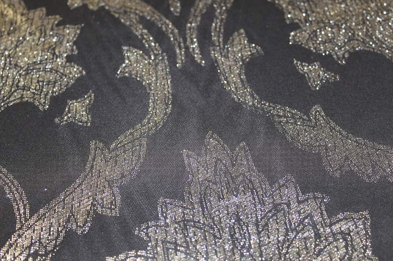 Blue Stretch Mesh Black and Gold metallic embroidered Print