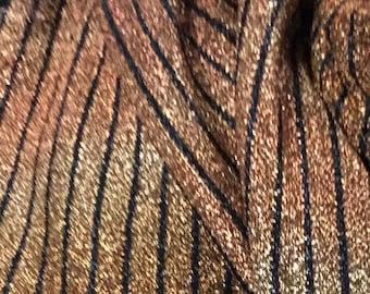 LT boucle stretch Lame fabric copper and black stripe