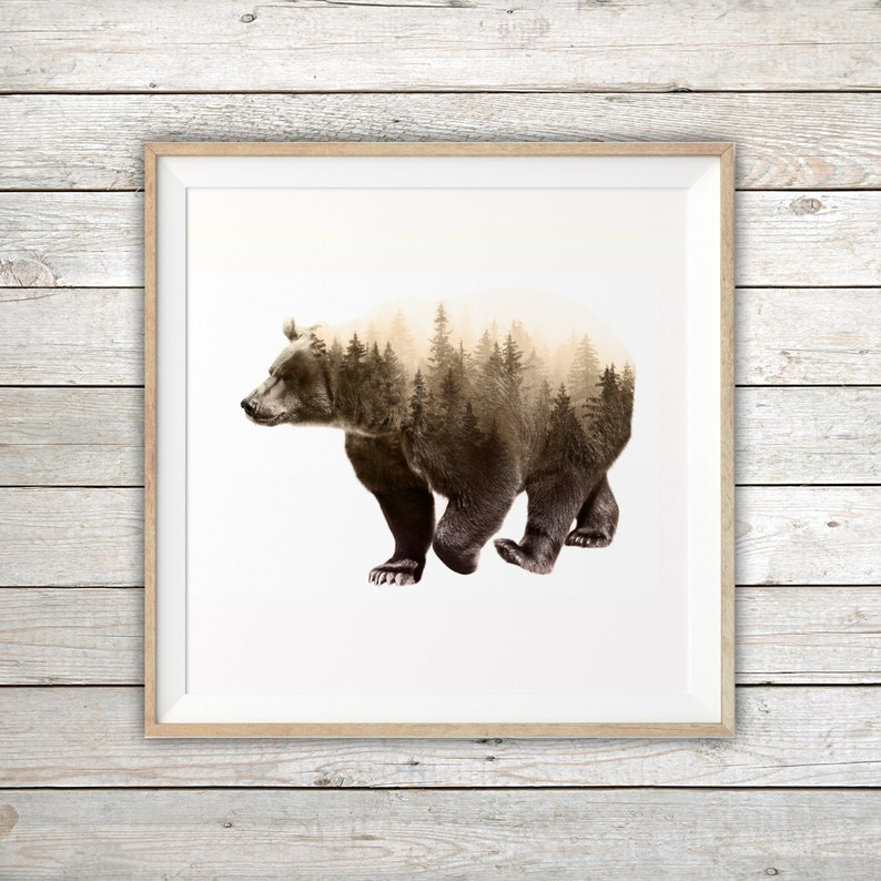 dbf3937a21f Imprimable ours brun Double exposition Art Print