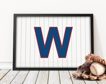 CHICAGO CUBS WIN - Pinstriped 'W' Baseball Print