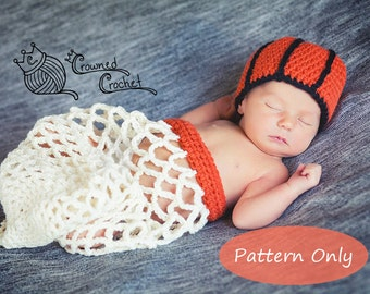 PATTERN ONLY Crochet Baby Basketball Net Cocoon Photography Photo Prop, PDF Digital Download, Crochet Pattern, Newborn Basketball Net