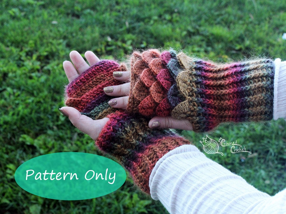 Pattern Only Crochet Dragon Scale Gloves Gauntlets Pdf Etsy