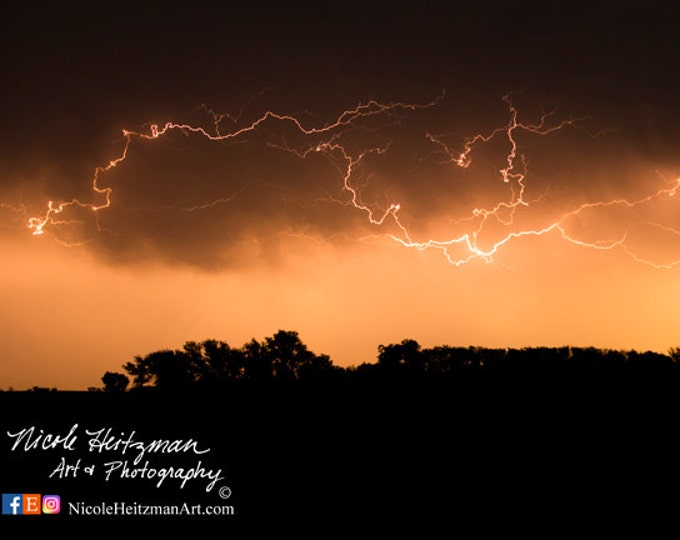 Thunderstorm Photo Father's day Gift for Dad Lightning storm Photography South Dakota sky photo Metal Print Night Scenery by Nicole Heitzman