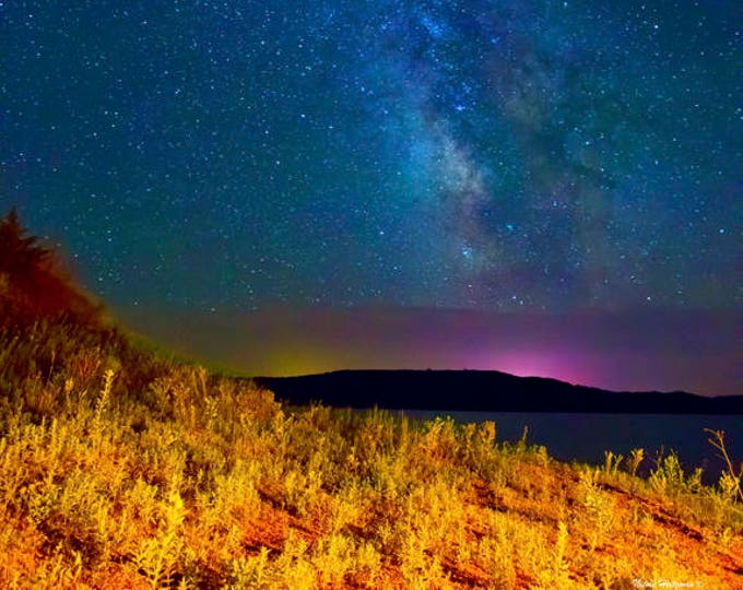 Milky Way Photo Night stars Scenery Celestial Metal Print Missouri River Photo South Dakota Night starry sky photography by Nicole Heitzman
