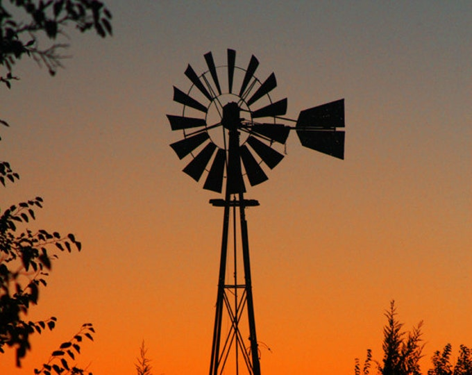 Gift for Dad Windmill Sunset Photography Farm Scenery Country Decor gift for Men Metal Print Photo South Dakota Sunset by Nicole Heitzman