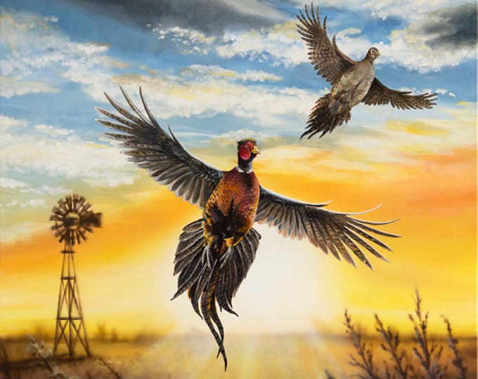 Wings in the Wind Pheasant painting Father's Day Gift Pheasant hunting art Gift for men Dad hunter Game Bird Wildlife Art Windmill Print
