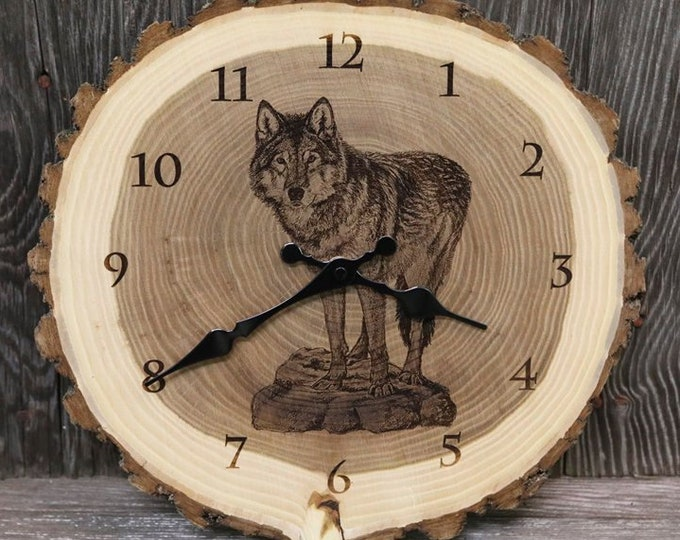 Engraved Wood Clock Wolf Art Wolf Clock Wildlife art Father's Day gift for Dad men him Lodge Decor Cabin Art Man cave art by Nicole Heitzman