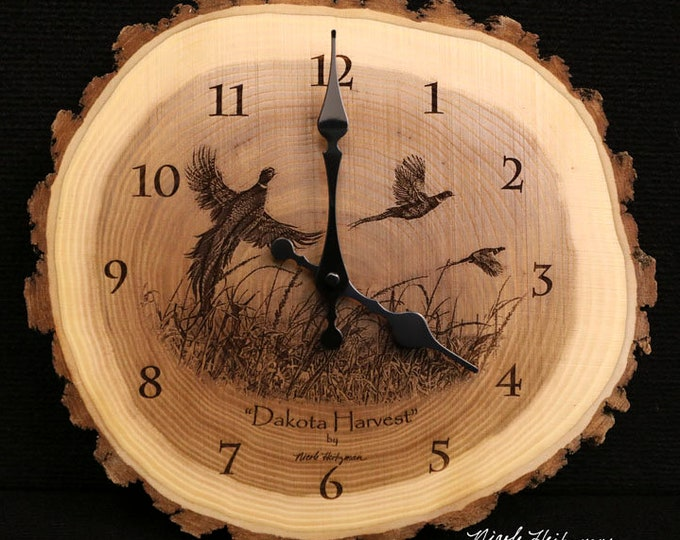 Pheasant hunting gift art Engraved Wood Clock Pheasant Art Pheasant Clock Wildlife art Father's Day gift for Dad men Lodge Cabin Man cave