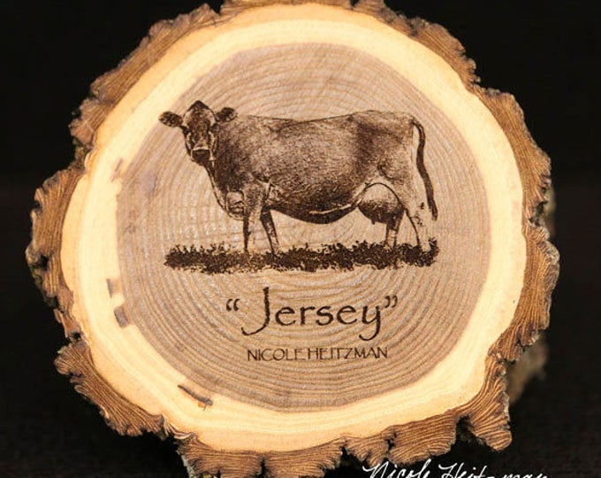 Cattle Jersey Cow Coaster Wood Farm Decor Father's Day gift for men Dairy Cattle Art Jersey Cow engraved Wood Coasters by Nicole Heitzman